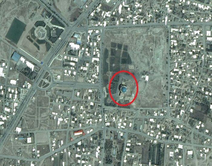 نقشه هوایی از گنبد سلطانیه بزرگترین گنبد آجری جهان